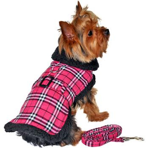 Pink and Black Plaid Coat Harness and Leash