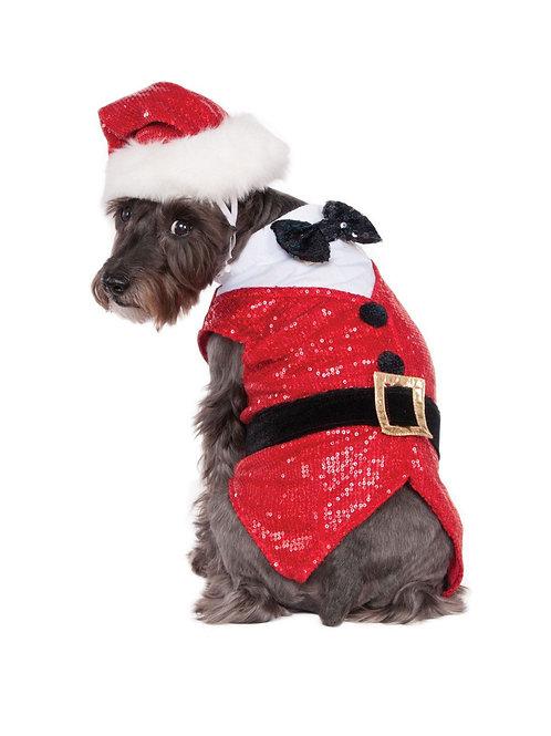 Sequin Santa Dog Costume