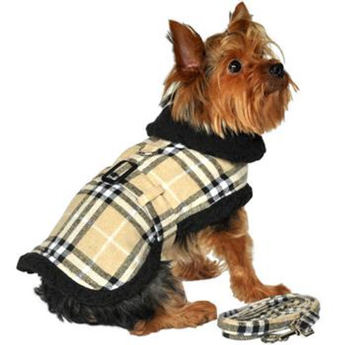 Brown and Black Plaid Coat Harness and Leash
