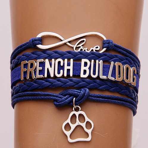 French Bulldog Leather Braclet with Paw Charm