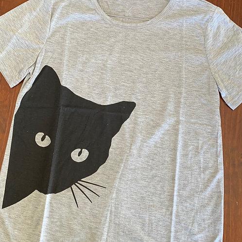 GreyWomens Tshirt with Black Cat