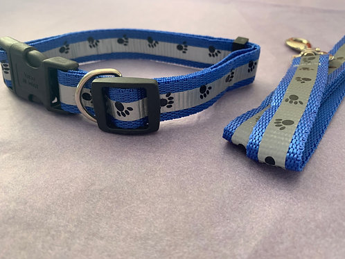 Blue and Silver Dog Collar with Paw Print and Lead