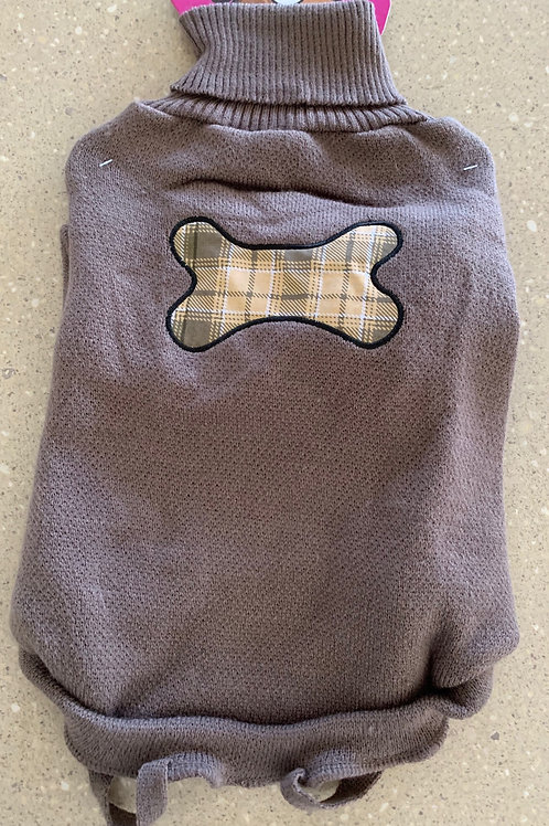Dog Coat Brown With Bone