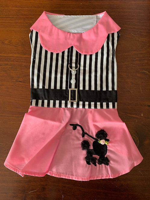 Dog Pink, White and Black Poodle Dress