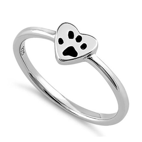 Sterling Silver Heart and Paw Ring