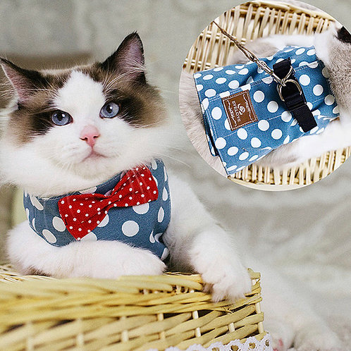 Cat Harness Blue Polka Dot