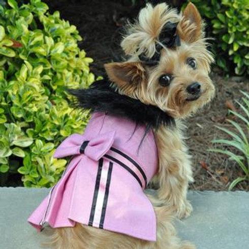 Pink Wool Harness Coat, Black Fur Neck, Pink Leash