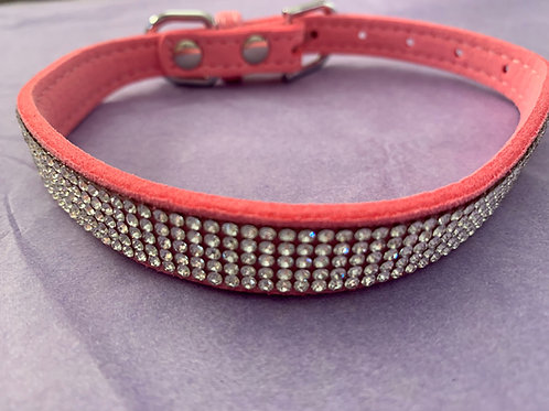 Dog Collar Light Pink Diamante - Large