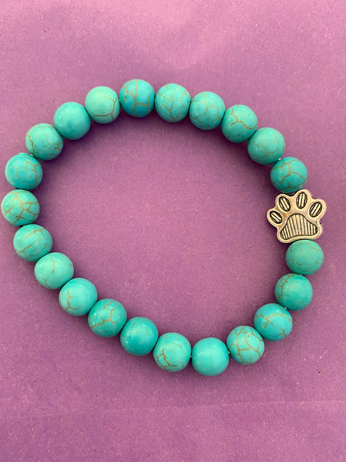 Aqua Beaded Braclet with Paw Charm