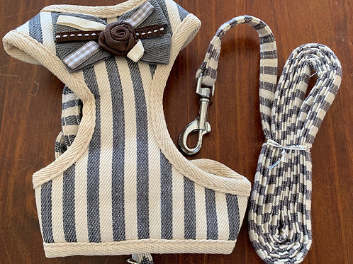 Cat Harness Blue and Cream Stripped