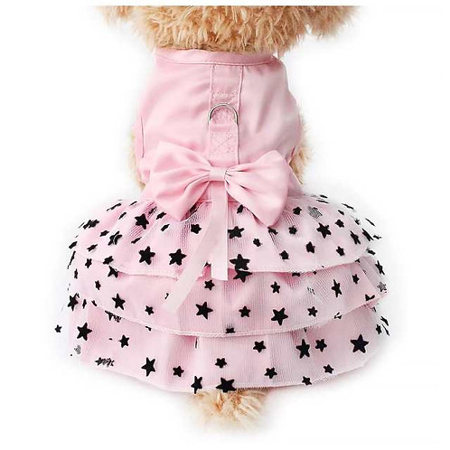 Pink Dog Dress With Black Stars and Bow