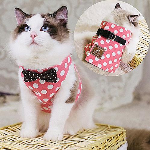 Cat Harness Pink Polka Dot