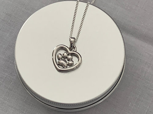 Heart and Paw Necklace Sterling Silver