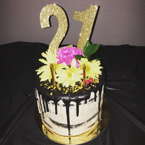 Ganache Drip & Fresh Floral 21st Birthday