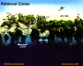 Palancar Caves map Cozumel