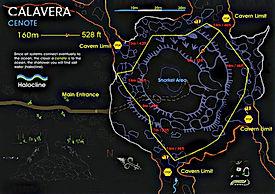 Mappa cenote Calavera | Riviera Maya