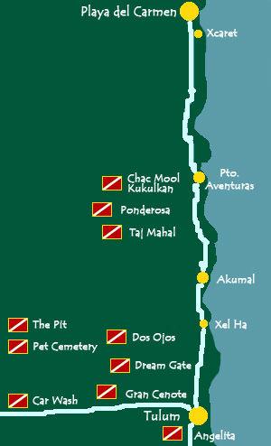 Cenotes dive sites map