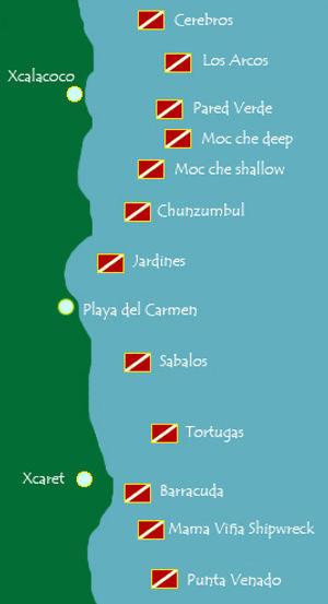 Playa del Carmen dive sites map
