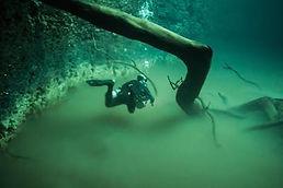 Jose Scaglia scuba diving in cenote Angelita