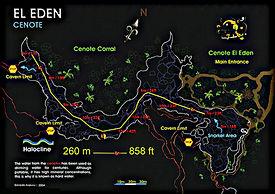 Mappa cenote El Eden | Riviera Maya