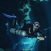 Jose Scaglia scuba diving in cenote