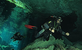 Scuba diving in Cenote Chac Mool