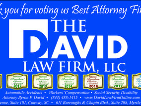 "Attorney Byron P. David Named ""Best Attorney"" Finalist by Myrtle Beach Herald Readers"