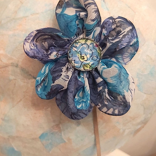 Blue Floral Fabric Hairband.