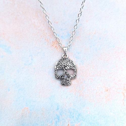 Silver Sugar Skull Pendant