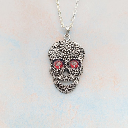 "Small ""Royal Ornate Rose"" Sugar Skull Pendant."