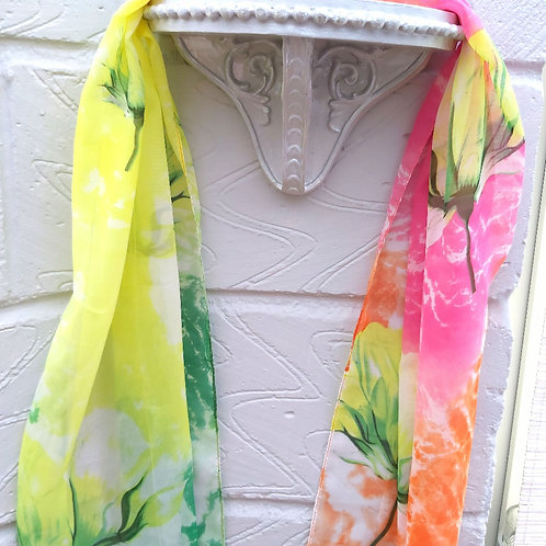 Abstract Pink/Lime Floral Chiffon Scarf