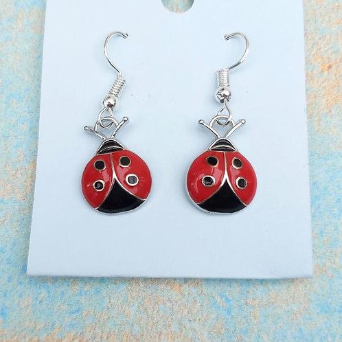 Ladybird Enamel Earrings
