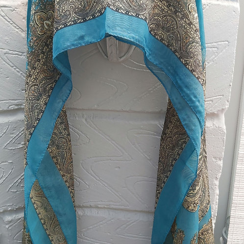 Teal Paisley Style Chiffon Scarf
