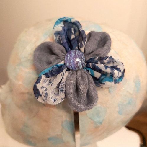 Denim Blue & Blue Floral Hairband.