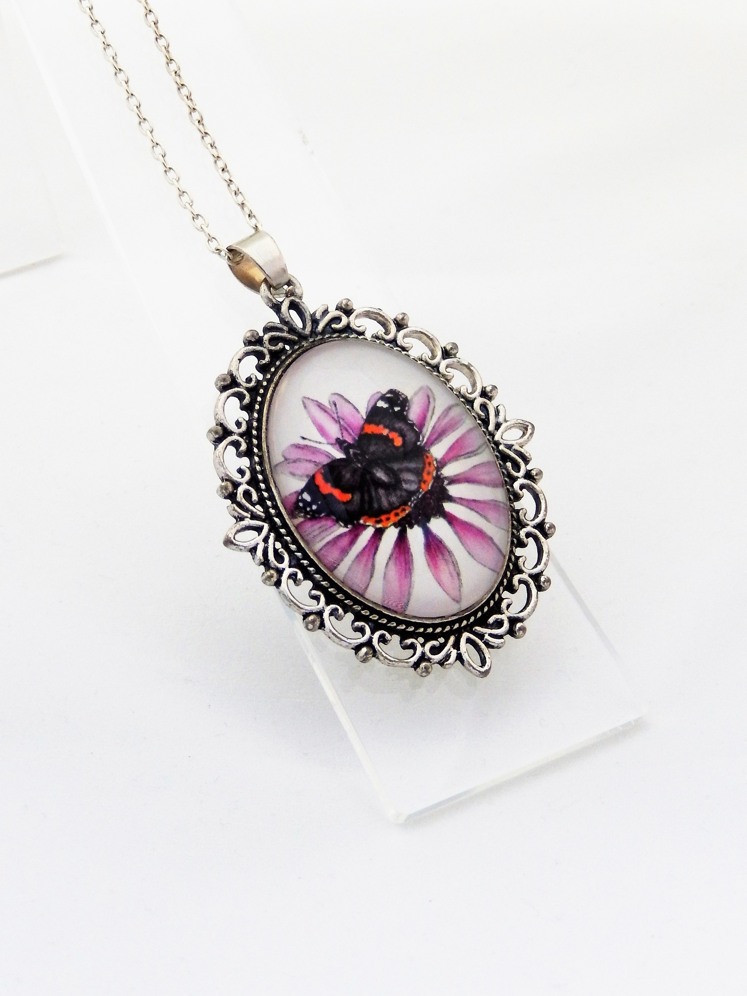 Red Admiral Ornate Pendant Necklace