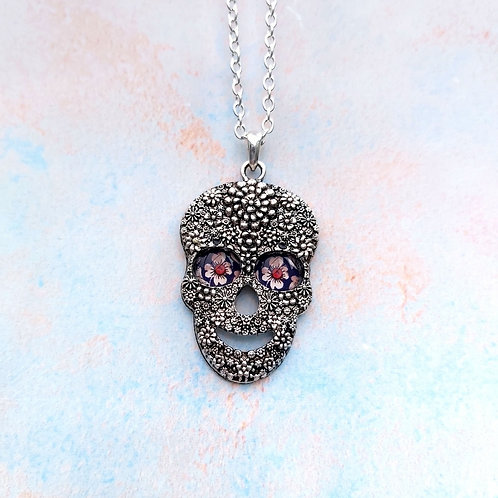 "Small ""Royal Ornate, Sugar Skull Pendant."