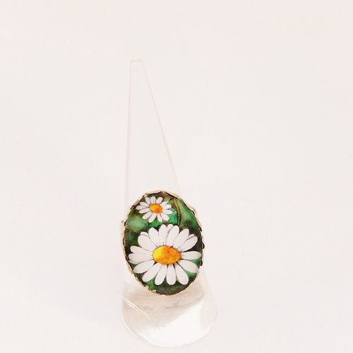 Vintage Daisy Oval Ring