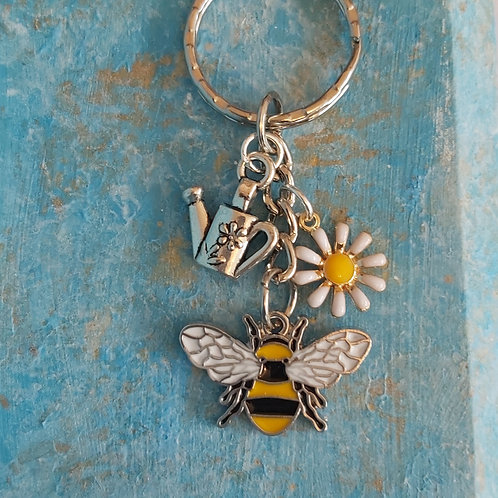 Bee, Daisy, Watering Can Keyring