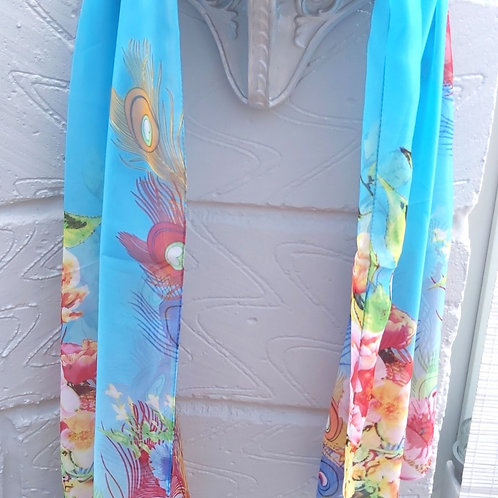 Turquoise Rose/Feather Chiffon Scarf.
