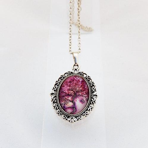 Purple Willow Mini Ornate Necklace