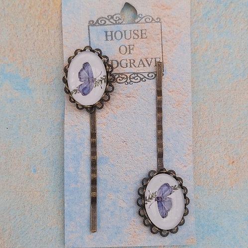 Blue Morpho Bobby pins (2)