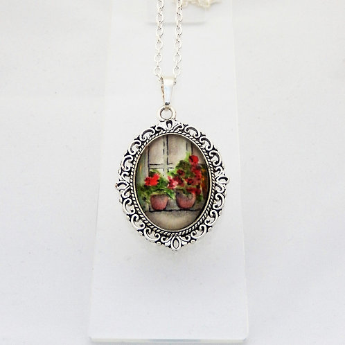 Flower Pots Mini Ornate Necklace