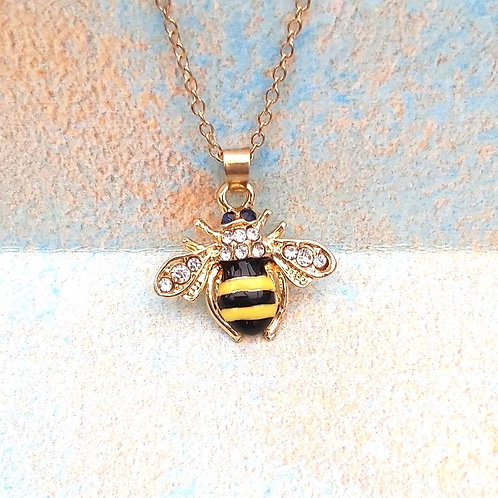 Enamel/Diamante gold plated Bee necklace