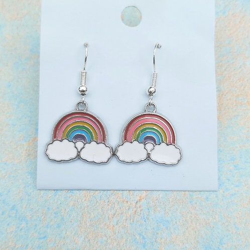 Rainbow enamelled silver plated earrings