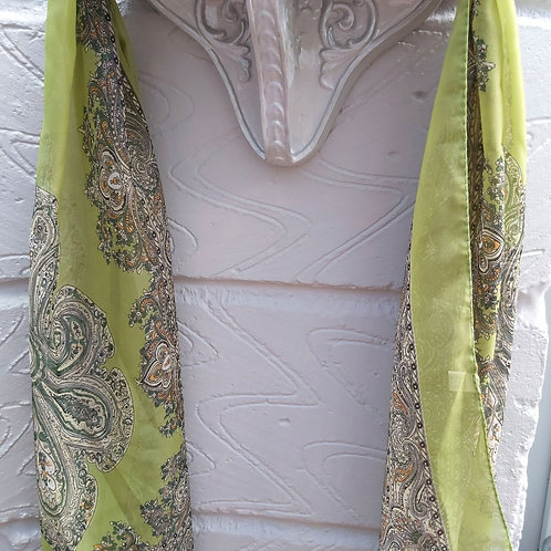 Lime Green Paisley Style Chiffon Scarf