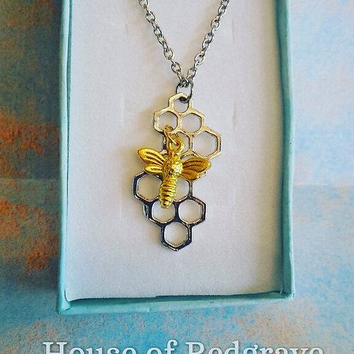 Silver Tone Honeycomb pendant with Gold plated Bee