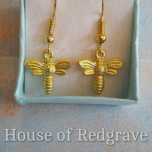 Gold plated Bee hook earrings