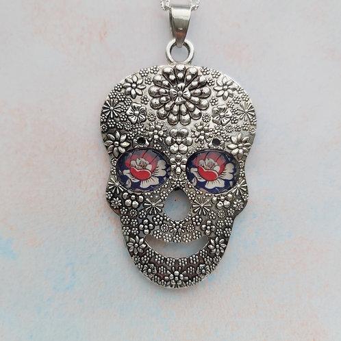 """Royal Ornate"" design, Sugar Skull Pendant."