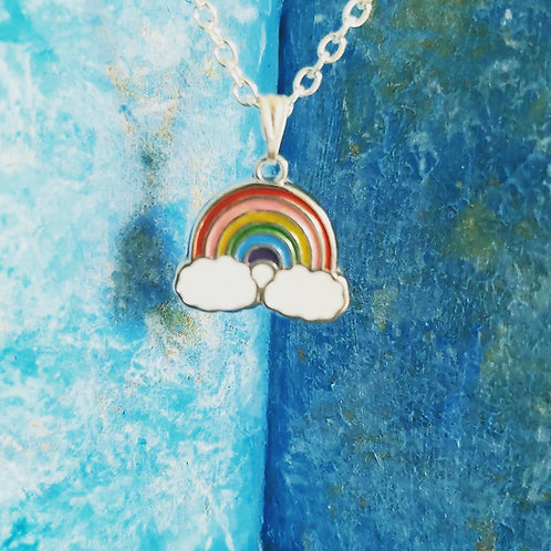 Rainbow enamel necklace