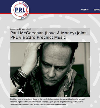 Paul McGeechan (Starless/Love & Money) joins PRL via 23rd Precinct Music